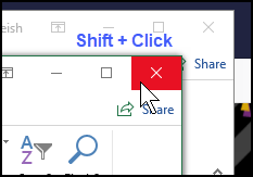 Shift and click X