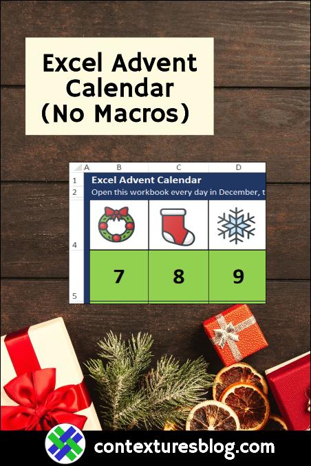 Excel Advent Calendar with No Macros