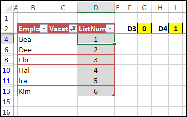 numbered visible rows in list