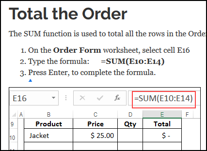 written instructions to make an order form
