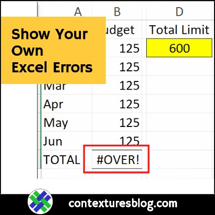 Show Your Own Excel Error Values