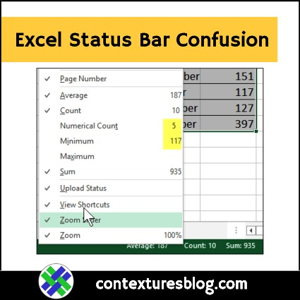 Confusing Options on Excel Status Bar