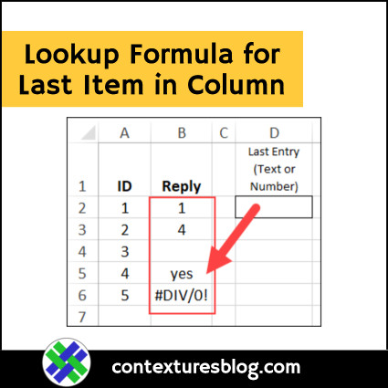 Excel Lookup Formula for Last Item in Column