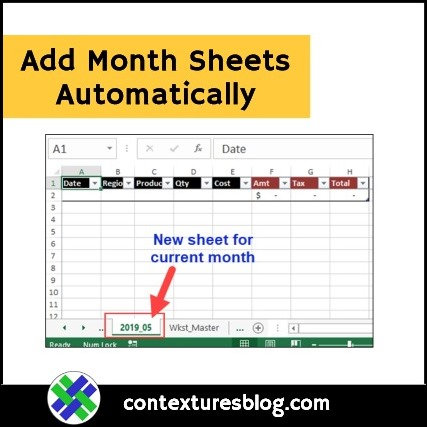 Add Month Sheets Automatically in Excel