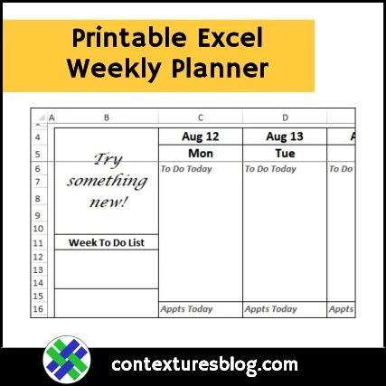 Printable Excel Weekly Planner