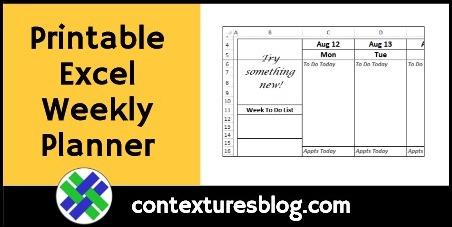 Printable Excel Weekly Planner Template