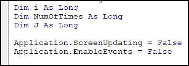 turn off events, and screen updating