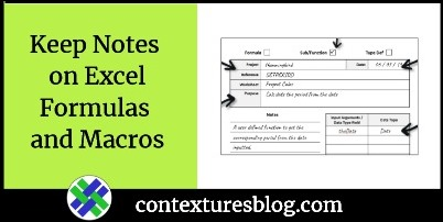 Keep Notes on Excel Formulas and Macros