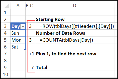 calculate row for next empty cell