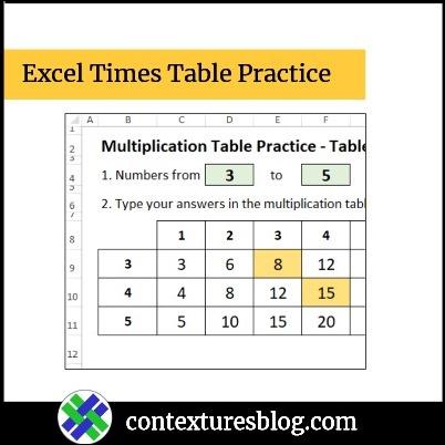 Excel Multiplication Table Practice Workbook