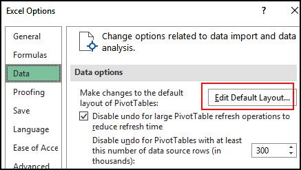 Edit Default Layout button
