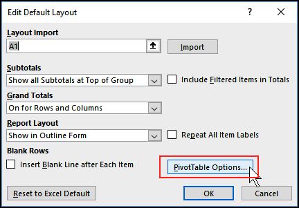 PivotTable options