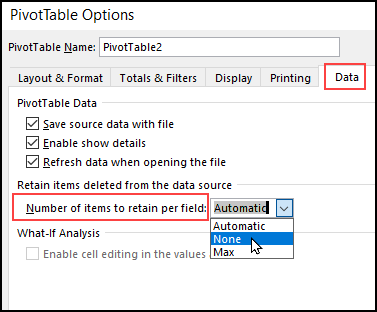 change items to retain option