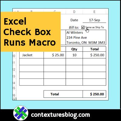 Excel Check Box Fills in Billing Address