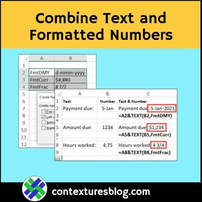 Combine Text and Formatted Numbers in Excel