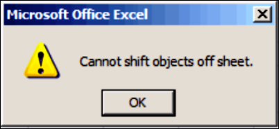 Excel error: Cannot shift objects off sheet