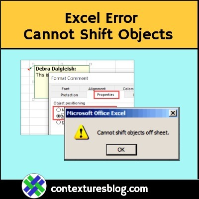 Excel Error Cannot Shift Objects Can't Push Objects