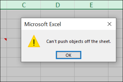 Excel error: Can't push objects off the sheet