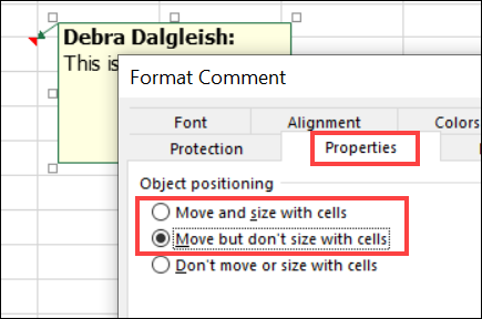 Format Comment dialog box - object positioning