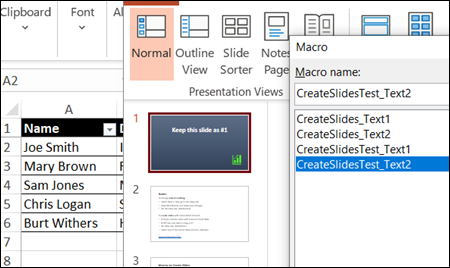 run macro to create new slides from data in Excel