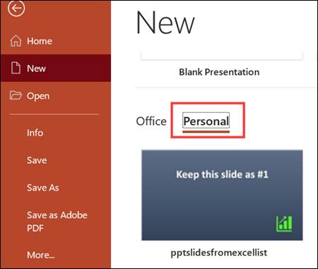 create new presentation from custom template