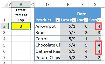 formula for sort order
