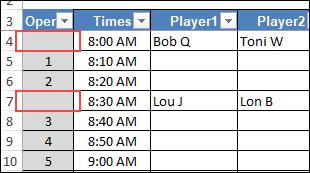 no numbers for assigned times