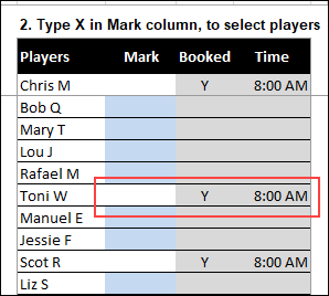 conditional formatting for assigned players