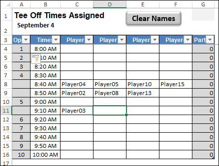 add player to tee off times sheet