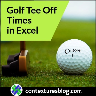 Excel Workbook for Golf Tee Off Times Update
